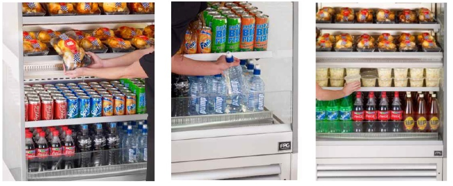 Cross merchandising hot and cold products in the Fusion. The only Combi Open Front  Hot and Cold display for Cstores, Supermarkets, Petrol